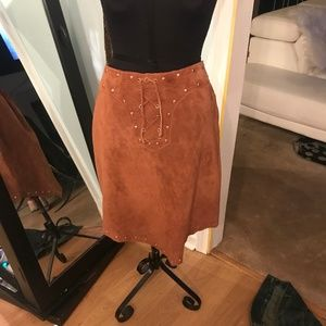 Brown Suede High Low Skirt Wilsons Leather
